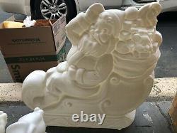 New General Foam Plastics Santa Claus Sleigh With 3 Reindeer Blow Molds