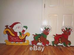 New Handmade, Santa In Sleigh & Dog Reindeer Christmas Yard Art Decoration