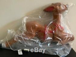 New In Box Vintage General Foam Giant 72 Santa Sleigh & Reindeer Blow Mold
