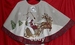 New Santa Reindeer Sled Snow 54 Christmas Tree Skirt Red Plaid Trim Snowflakes