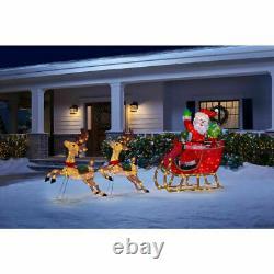 OUTDOOR SANTA CLAUS REINDEER SLEIGH Christmas Yard Decoration White LED Lights