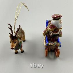 Old World Santa Sleigh & Reindeer Limoges Box Rochard Neiman Marcus RARE