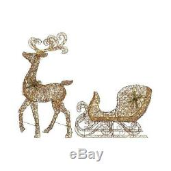 Outdoor Christmas Decorations Santa Reindeer with Sleigh, LED Lighted Decor