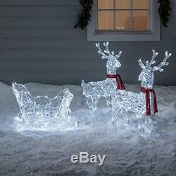 Outdoor Christmas Figures Decoration Lighted Reindeer And Santa Sleigh Acrylic