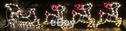 Outdoor Christmas Light Santa Reindeer Sleigh Multicolor Stretches Over 15 Feet