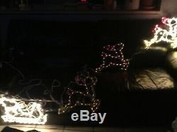 Outdoor Christmas Light Santa Reindeer Sleigh Multicolor Stretches Over 15 Feet