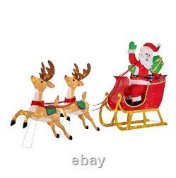 Outdoor Santa Reindeer Sleigh Yard Decoration Display Holiday Christmas Decor