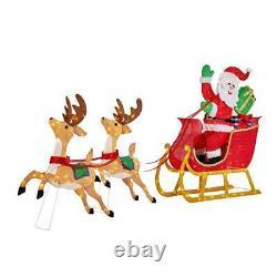 Outdoor Santa Reindeer Sleigh Yard Decoration Display Holiday Decor LED Lights