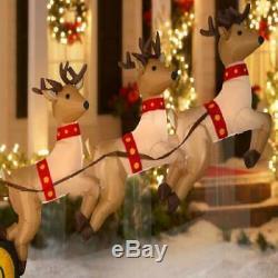 Outdoor Yard Inflatable Floating Santa Sleigh w Reindeer 6' x 10.5' Christmas
