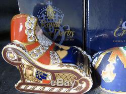 Pair boxed Royal Crown Derby Santa & Sleigh plus Reindeer First quality + Signed