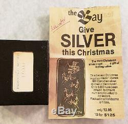 Pmp Mint Canada 1974 Christmas Santa Sleigh & Reindeer & News Ad Silver Bar