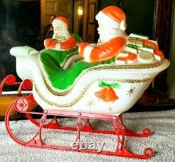 Poloron Blow Mold Santa Sleigh with 2 Reindeer Table Top Lighted withBox HTF 1960s