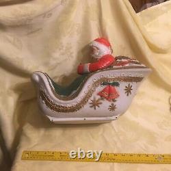Poloron Industries Blow Mold Santa, Sleigh & 2 22 Reindeer With Lights & Box Rare