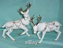 Porcelain Santa Sleigh Reindeer Set Grandeur Noel Collectors 2001 Christmas
