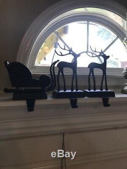 Pottery Barn Christmas Stocking Holder Santas Sleigh & 2 Reindeers Set Of 3