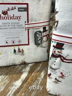 Pottery Barn Holiday Santa Sleigh Reindeer Duvet Cover Twin XL Glow In Dark