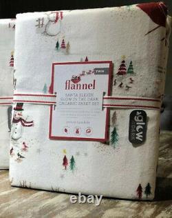 Pottery Barn Holiday Santa Sleigh Reindeer Flannel Sheets Twin XL Glow