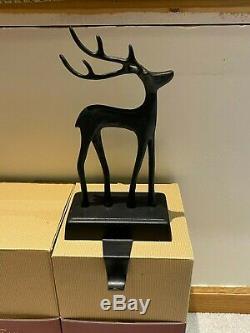 Pottery Barn SANTAS SLEIGH Deer Stocking Holders CHRISTMAS REINDEER Bronze Set 3
