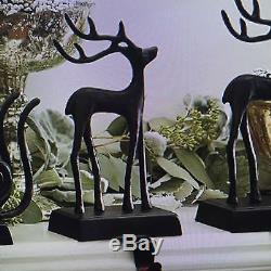 Pottery Barn SANTAS SLEIGH & REINDEER STOCKING HOLDER 3 PC SET Christmas Deer