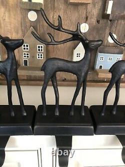 Pottery Barn SANTAS SLEIGH Stocking Holder REINDEER Deer Bronze Decor Christmas