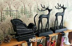 Pottery Barn Santa Sleigh & Reindeer Stocking Holders -nib- On Comet, On Mantel