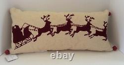 Pottery Barn Sleigh Bell Crewel Lumbar Pillow Santa/Reindeer Embroidered NEW