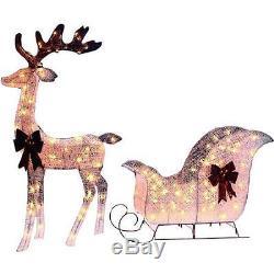 Pre-Lit Lighted REINDEER SLEIGH Santa Buck Christmas Outdoor Yard Decor Lawn Art