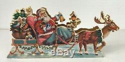 RARE 1950-1960's Santa Clause Sleigh Reindeer Moving Music Box 14