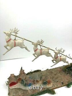 RARE Antique 1910 Chalkware SANTA n SLEIGH with REINDEER in Flight Christmas Decor