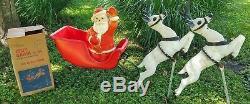 RARE Beco Santa with Original Box, Sleigh and 2 Reindeer Blow Mold Christmas