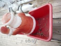 RARE Beco Santa with Sleigh and 2 Reindeer Blow Mold Christmas ship or pick up