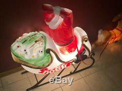 RARE Empire Blow Mold Santa Claus Sleigh Reindeer Noel Christmas Yard Decor