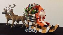 RARE GERMAN SANTA SLEIGH and SIX REINDEER CANDY CONTAINER CHRISTMAS ANTIQUE