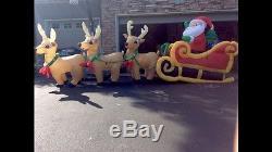 RARE Gemmy Airblown 16 FOOT SANTA, SLEIGH, REINDEER HUGE Christmas Inflatable