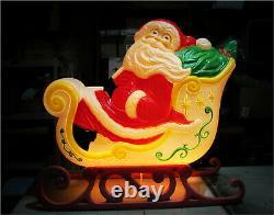 RARE Giant Grand Venture Santa Claus Sleigh 3 Reindeer Christmas Blow Mold Light