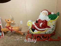 RARE Giant Grand Venture Santa Claus Sleigh Reindeer Christmas Blow Mold Light