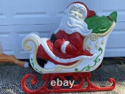 RARE Giant Grand Venture Santa Claus Sleigh Reindeer Christmas Blow Mold Lighted