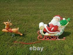 RARE Grand Venture Santa Claus Sleigh 1 Reindeer Christmas Blow Mold Light Decor