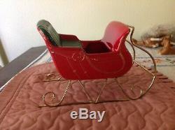 RARE Metlox pottery ORIGINAL SANTA pony horse cutter SLEIGH Christmas Reindeer