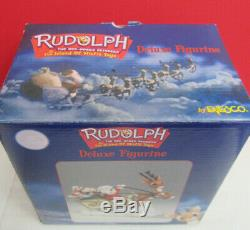 RARE Santa Rudolph the Red Nosed Reindeer Sleigh Island of Misfit Toys Figurine