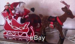 RARE Telco Santa in Sleigh and Rudolph the Red Nose Reindeer EUC IOB with Music