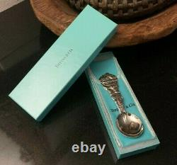 RARE Tiffany and Co. 1995 Sterling Santa Sleigh & Reindeer Christmas Spoon withBox