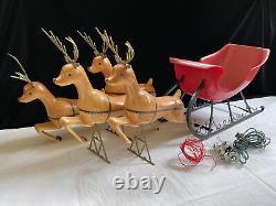 RARE Vintage 1962 Christmas Santas Sleigh UNION Products Blow Mold 4 Reindeer