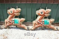 RARE Vintage Commercial Hanging Santa Claus Sleigh Reindeer 50's Blow Mold