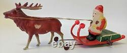 RARE Vintage (Occupied Japan) Wind-up Celluloid Santa with Sleigh & Reindeer
