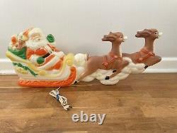 RARE Vtg Poloron Plastic Lighted Blow Mold Santa Sleigh Reindeer Works