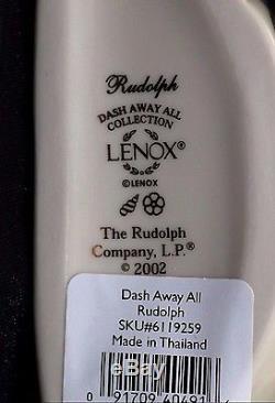 RUDOLPH The Red Nosed Reindeer DASH AWAY ALL Figurine SANTA SLEIGH Lenox