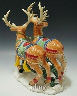 Radko Helpling Santa 2 Piece Musical Figurine Reindeer Sleigh Set Large With Box