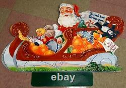 Rare1950 Sunkist Orange Christmas Santa Claus Sleigh & Reindeer Display Sign