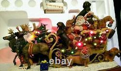 Rare DANBURY MINT Dachshund Santa Christmas Doxie Reindeer Sleigh Retired
